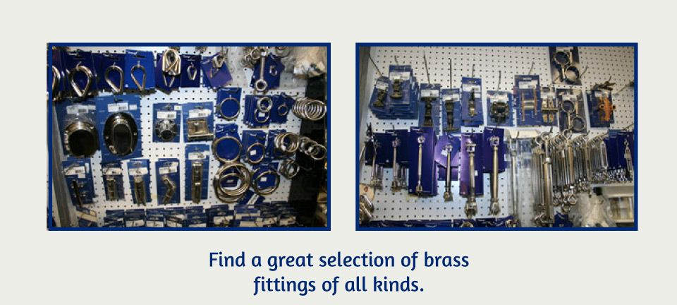 Find a great selection of brass fittings of all kinds | store isle with brass fittings