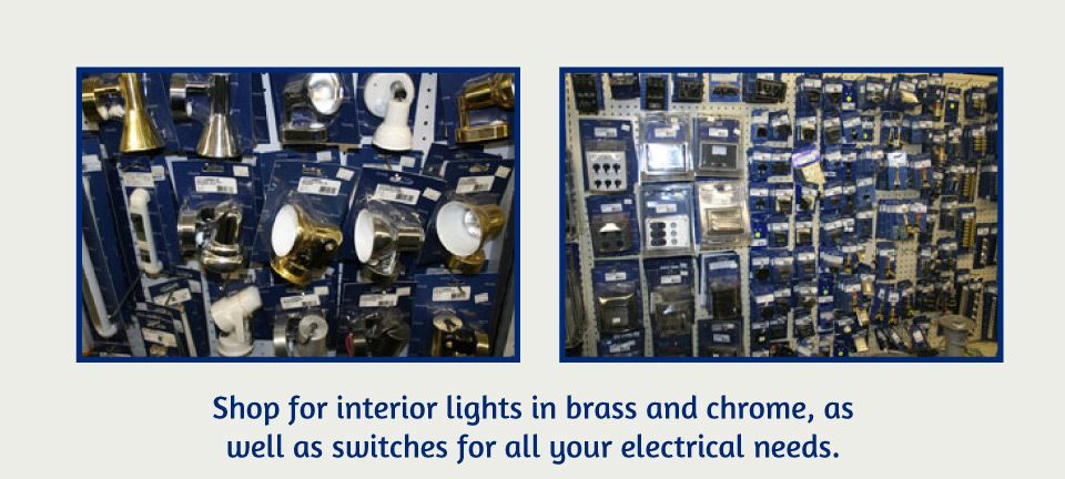 Shop for interior lights in brass and chrome, as well as as switches for all your electrical needs | store isle full of product