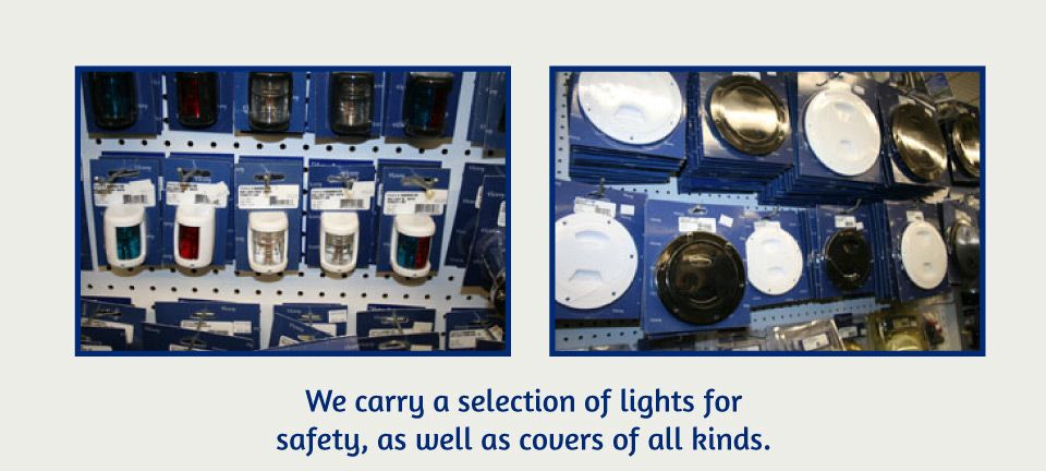 We carry a selection of lights for safely, as well as covers of all kinds | product on store isle