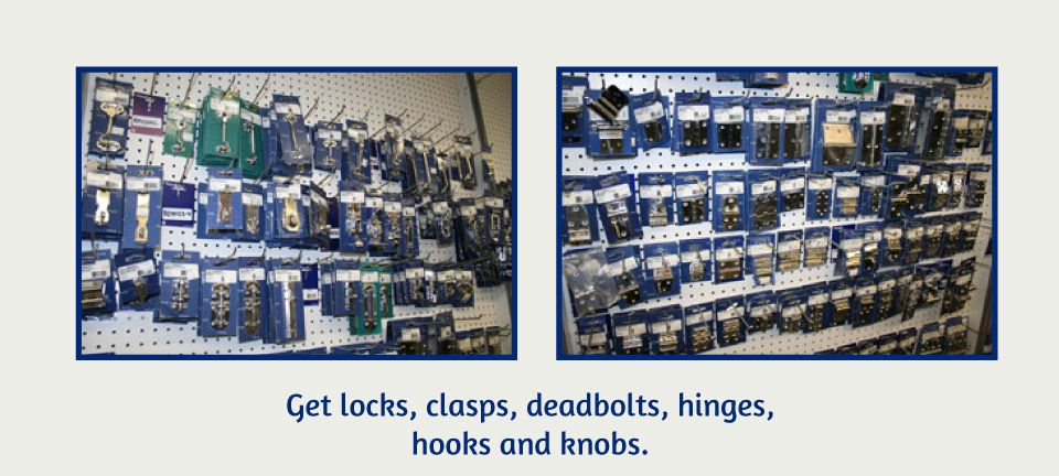 Get locks, clasps, deadbolts, hinges, hook and knobs | product on store isle